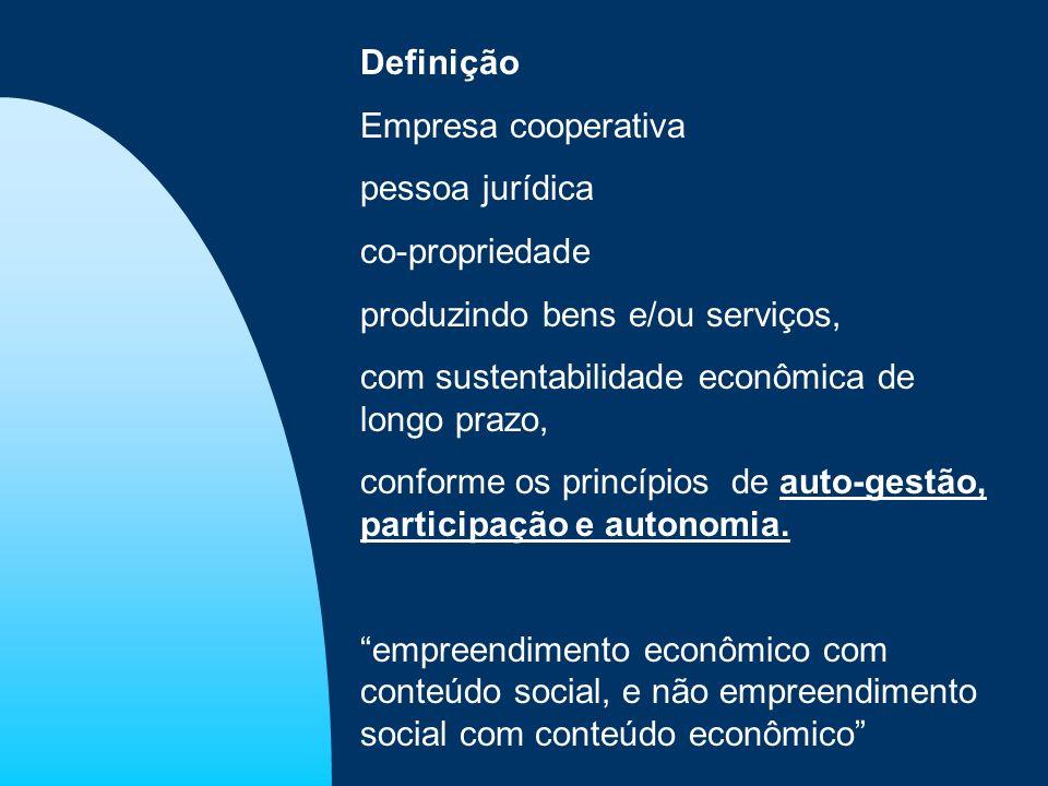Definição Empresa cooperativa pessoa jurídica co-propriedade produzindo bens e/ou serviços, com sustentabilidade econômica de longo prazo, conforme os
