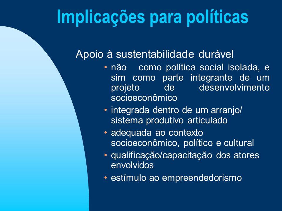 Implicações para políticas Apoio à sustentabilidade durável não como política social isolada, e sim como parte integrante de um projeto de desenvolvim