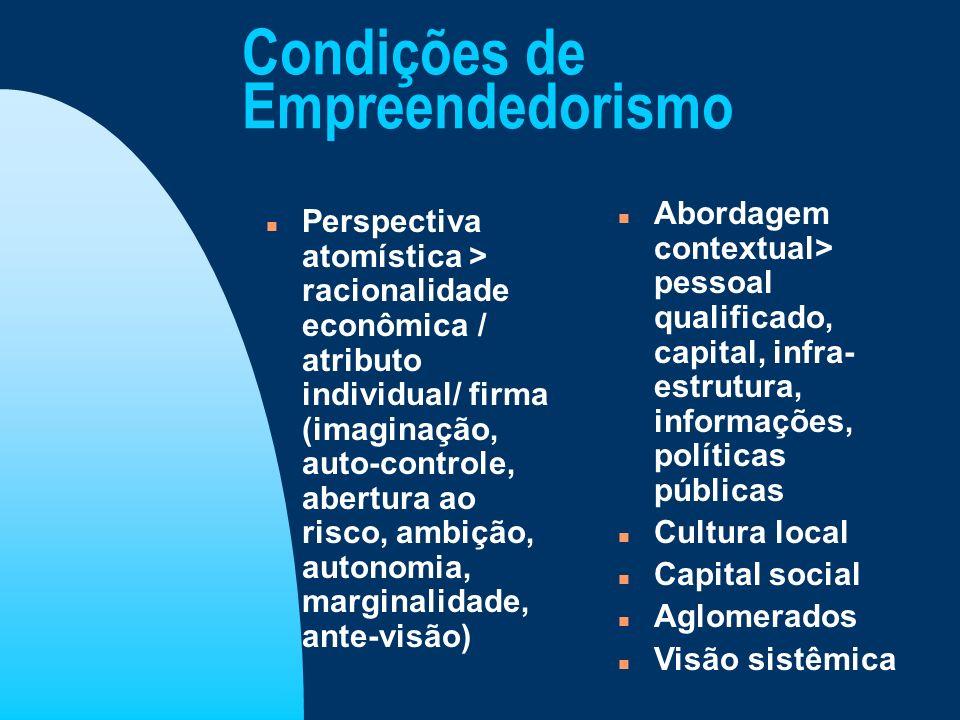 Condições de Empreendedorismo n Perspectiva atomística > racionalidade econômica / atributo individual/ firma (imaginação, auto-controle, abertura ao