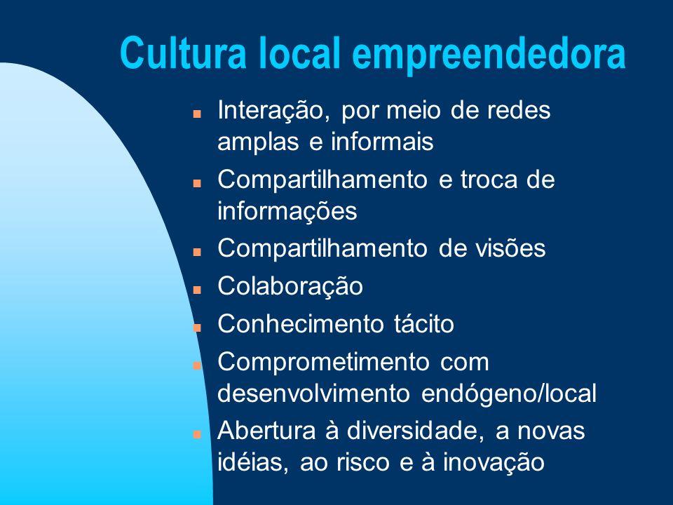 Cultura local empreendedora n Interação, por meio de redes amplas e informais n Compartilhamento e troca de informações n Compartilhamento de visões n