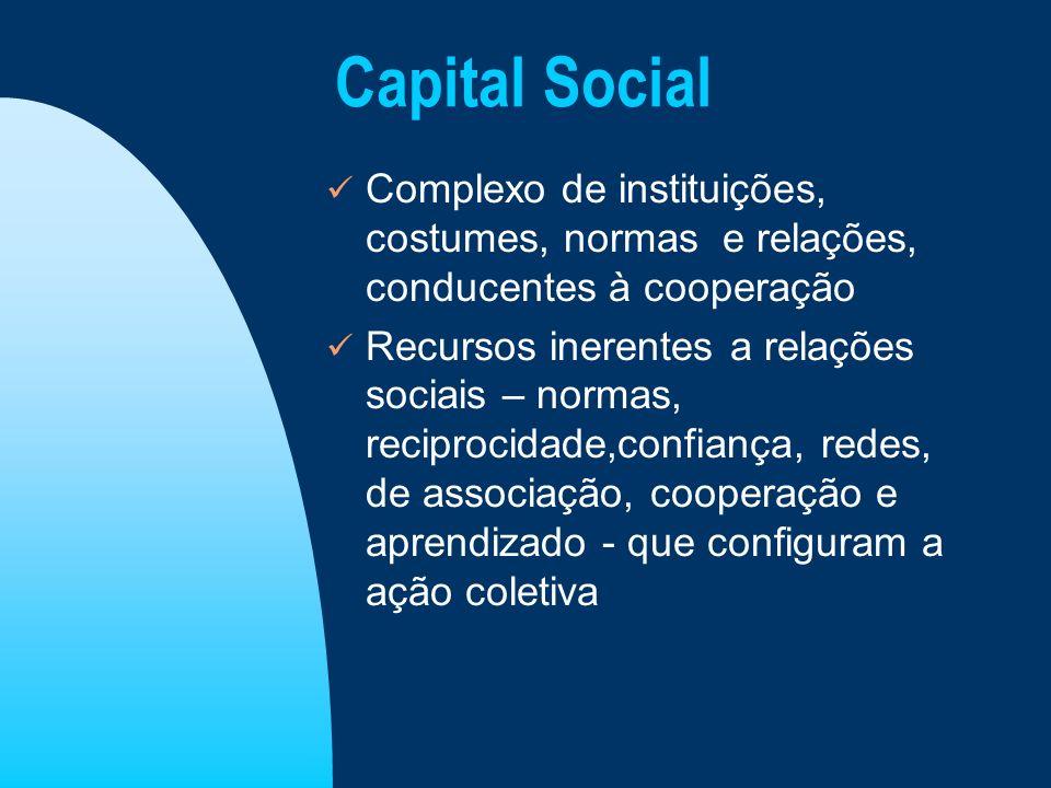 Capital Social Complexo de instituições, costumes, normas e relações, conducentes à cooperação Recursos inerentes a relações sociais – normas, recipro