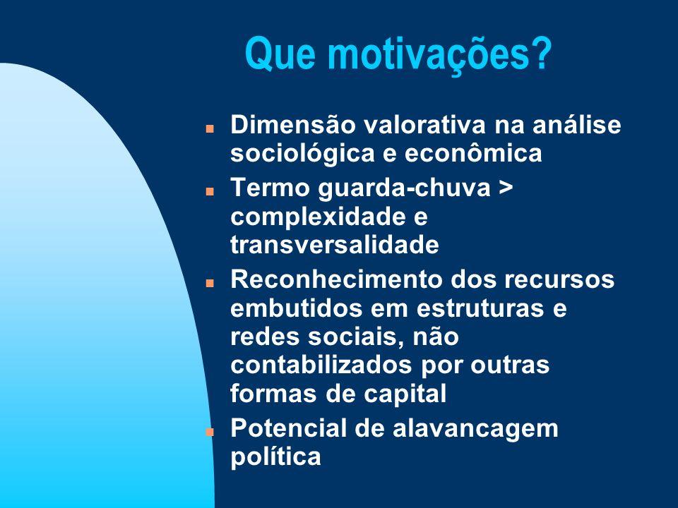 Que motivações? n Dimensão valorativa na análise sociológica e econômica n Termo guarda-chuva > complexidade e transversalidade n Reconhecimento dos r
