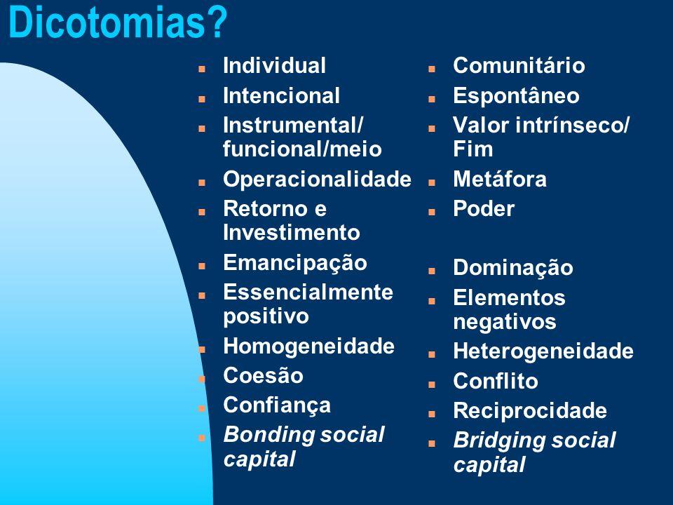 Dicotomias? n Individual n Intencional n Instrumental/ funcional/meio n Operacionalidade n Retorno e Investimento n Emancipação n Essencialmente posit