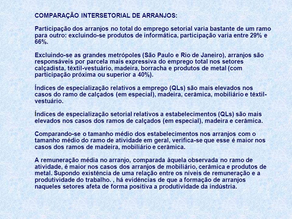 COMPARAÇÃO INTERSETORIAL DE ARRANJOS: Participação dos arranjos no total do emprego setorial varia bastante de um ramo para outro: excluindo-se produtos de informática, participação varia entre 29% e 66%.