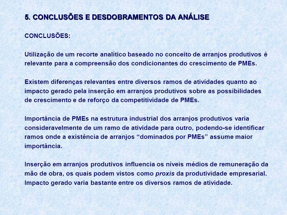 5. CONCLUSÕES E DESDOBRAMENTOS DA ANÁLISE 5.