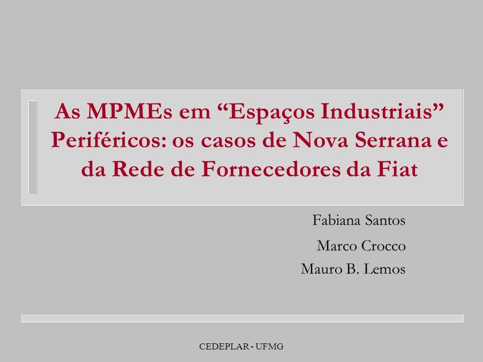CEDEPLAR - UFMG As MPMEs em Espaços Industriais Periféricos: os casos de Nova Serrana e da Rede de Fornecedores da Fiat Fabiana Santos Marco Crocco Ma