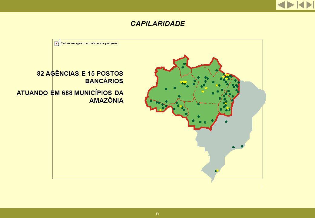6 CAPILARIDADE 82 AGÊNCIAS E 15 POSTOS BANCÁRIOS ATUANDO EM 688 MUNICÍPIOS DA AMAZÔNIA