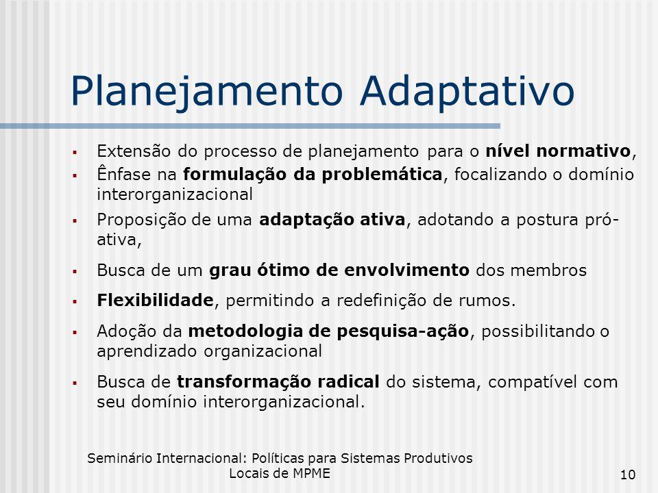 Seminário Internacional: Políticas para Sistemas Produtivos Locais de MPME 10 Planejamento Adaptativo Extensão do processo de planejamento para o nível normativo, Ênfase na formulação da problemática, focalizando o domínio interorganizacional Proposição de uma adaptação ativa, adotando a postura pró- ativa, Busca de um grau ótimo de envolvimento dos membros Flexibilidade, permitindo a redefinição de rumos.