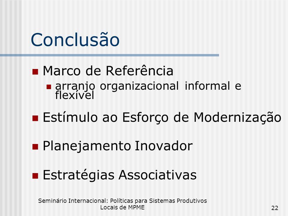 Seminário Internacional: Políticas para Sistemas Produtivos Locais de MPME 22 Conclusão Marco de Referência arranjo organizacional informal e flexível Estímulo ao Esforço de Modernização Planejamento Inovador Estratégias Associativas