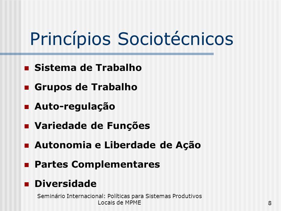 Seminário Internacional: Políticas para Sistemas Produtivos Locais de MPME 8 Princípios Sociotécnicos Sistema de Trabalho Grupos de Trabalho Auto-regulação Variedade de Funções Autonomia e Liberdade de Ação Partes Complementares Diversidade