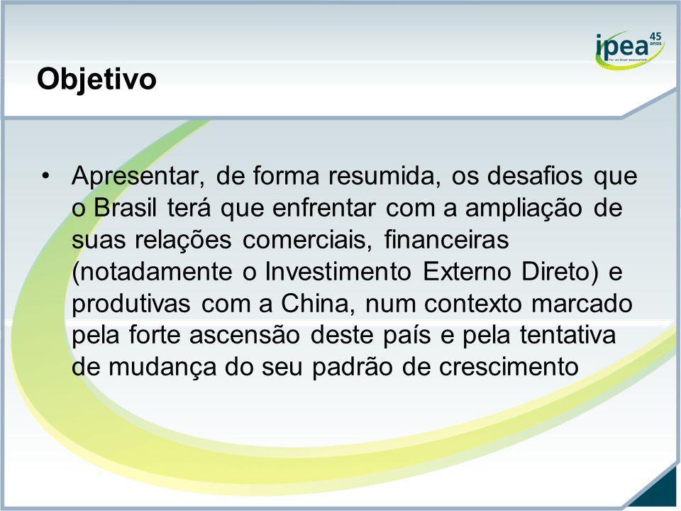 Objetivo Apresentar, de forma resumida, os desafios que o Brasil terá que enfrentar com a ampliação de suas relações comerciais, financeiras (notadame