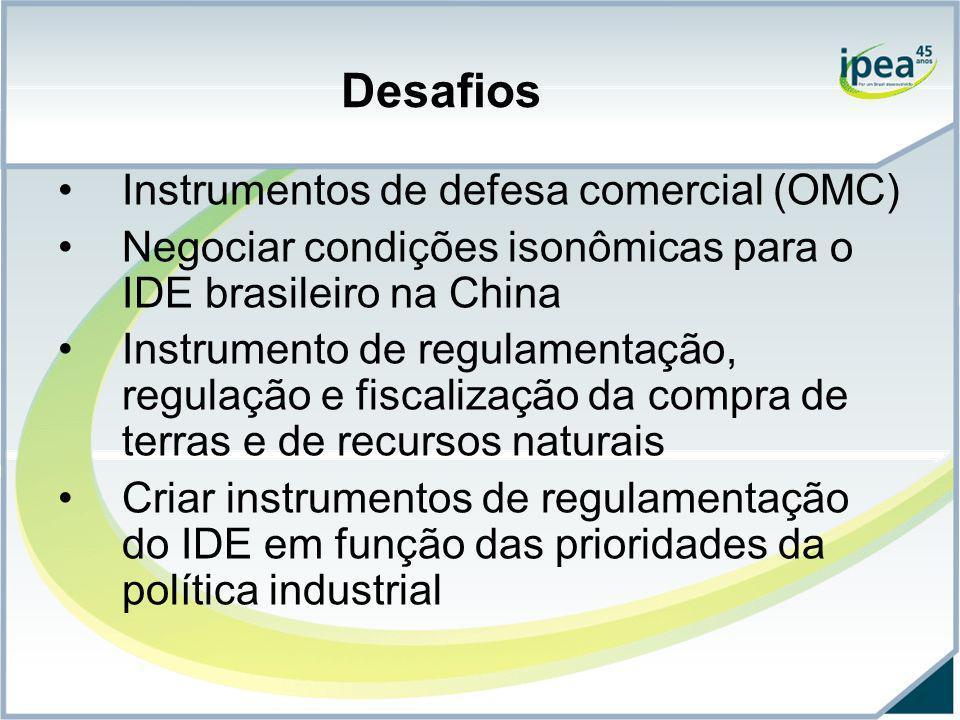 Desafios Instrumentos de defesa comercial (OMC) Negociar condições isonômicas para o IDE brasileiro na China Instrumento de regulamentação, regulação