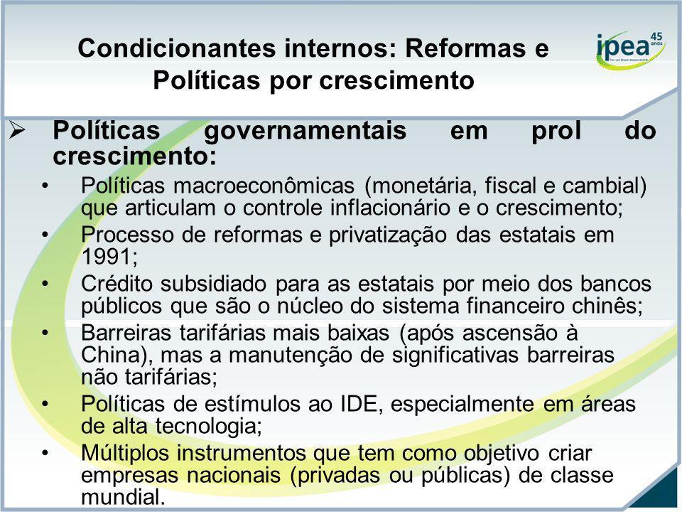 Condicionantes internos: Reformas e Políticas por crescimento Políticas governamentais em prol do crescimento: Políticas macroeconômicas (monetária, f