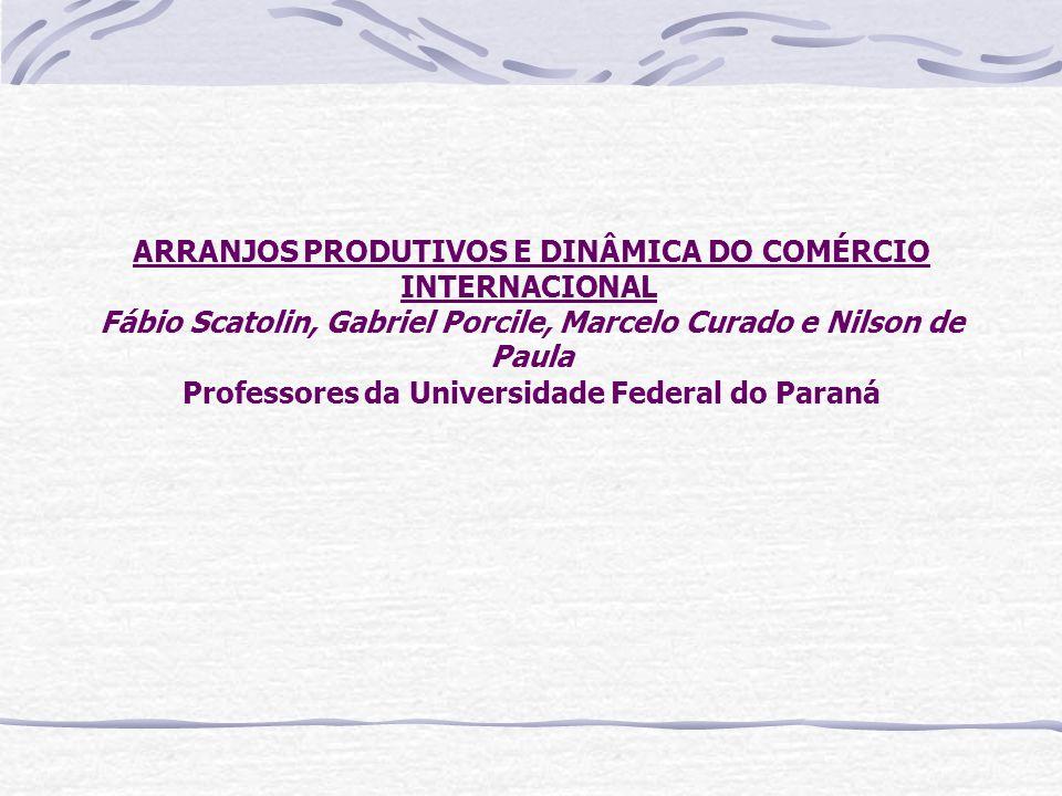ARRANJOS PRODUTIVOS E DINÂMICA DO COMÉRCIO INTERNACIONAL Fábio Scatolin, Gabriel Porcile, Marcelo Curado e Nilson de Paula Professores da Universidade Federal do Paraná