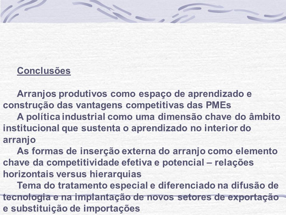 Segundo Carvalho Jr e Nassif (1999) as exportações realizadas pelas PMEs, identificadas pelo critério do número de empregados, cresceram a uma taxa média anual de 14,2%, praticamente o dobro do crescimento das exportações totais brasileiras, que ficaram em 7,2% entre 1990 e 1996.