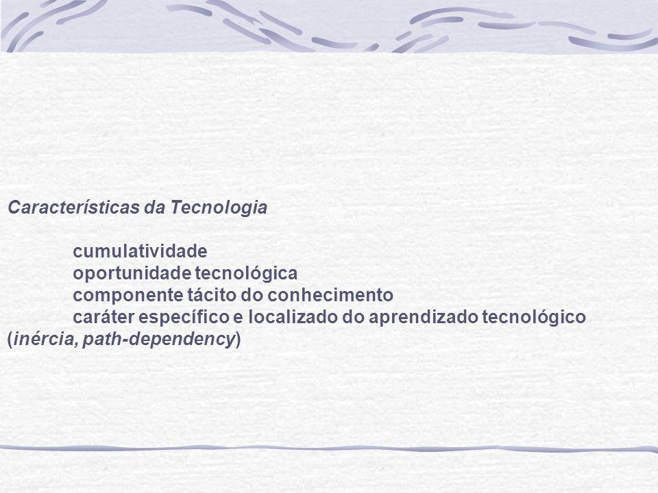 (a) Concorrência schumpeteriana: construção de barreiras à entrada e à mobilidade a partir da inovação (b) A intensidade relativa da seleção e da adaptação é função (i) das características da tecnologia, (ii) da distribuição inicial das assimetrias tecnológicas e (iii) do marco institucional do aprendizado e da concorrência.