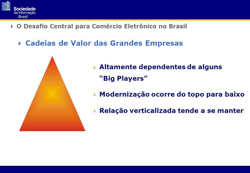 O Desafio Central para Comércio Eletrônico no Brasil Altamente dependentes de alguns Big Players Modernização ocorre do topo para baixo Relação verticalizada tende a se manter Cadeias de Valor das Grandes Empresas