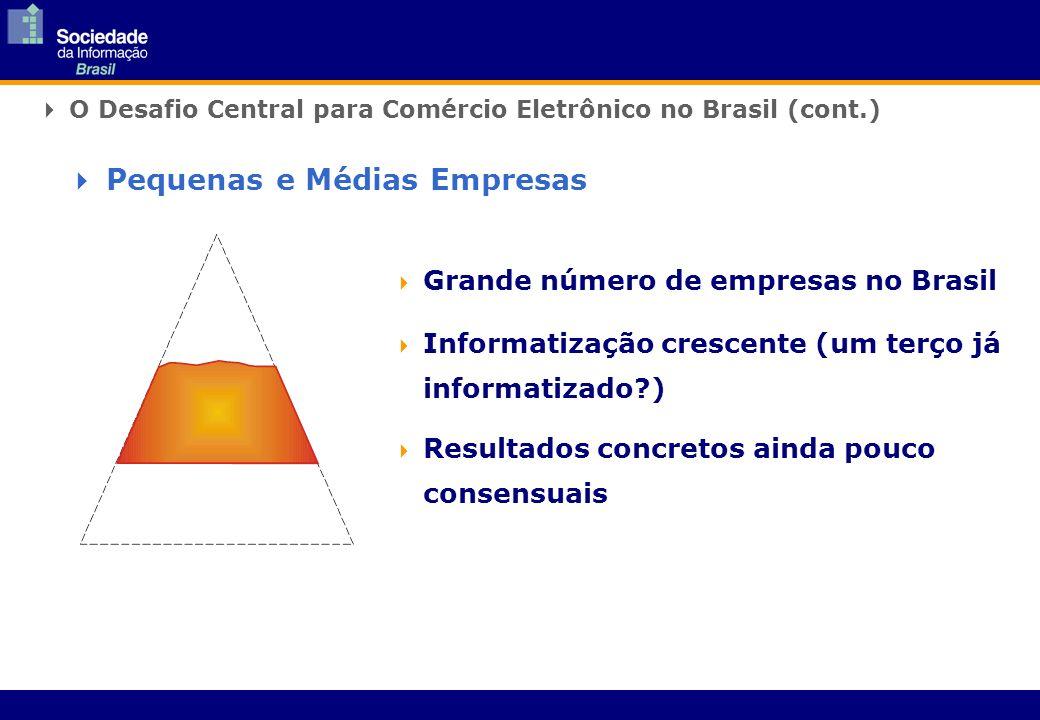 Grande número de empresas no Brasil Informatização crescente (um terço já informatizado ) Resultados concretos ainda pouco consensuais O Desafio Central para Comércio Eletrônico no Brasil (cont.) Pequenas e Médias Empresas