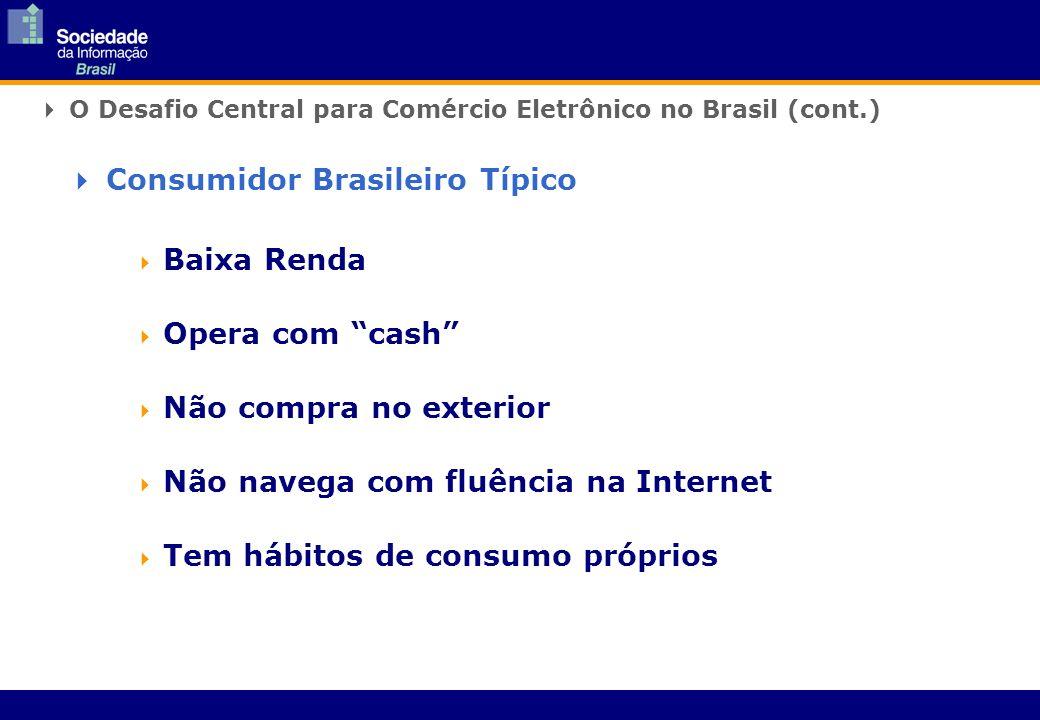 Baixa Renda Opera com cash Não compra no exterior Não navega com fluência na Internet Tem hábitos de consumo próprios O Desafio Central para Comércio Eletrônico no Brasil (cont.) Consumidor Brasileiro Típico