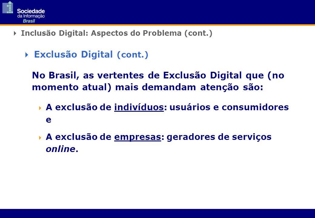 Inclusão Digital: Aspectos do Problema (cont.) No Brasil, as vertentes de Exclusão Digital que (no momento atual) mais demandam atenção são: A exclusã