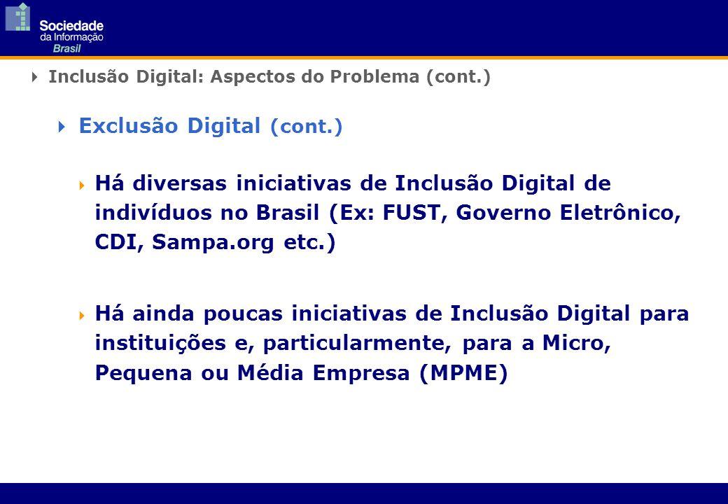 Inclusão Digital: Aspectos do Problema (cont.) Há diversas iniciativas de Inclusão Digital de indivíduos no Brasil (Ex: FUST, Governo Eletrônico, CDI, Sampa.org etc.) Há ainda poucas iniciativas de Inclusão Digital para instituições e, particularmente, para a Micro, Pequena ou Média Empresa (MPME) Exclusão Digital (cont.)