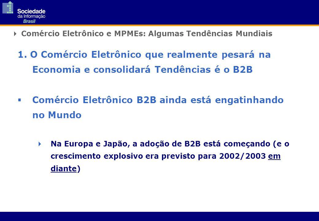 Comércio Eletrônico e MPMEs: Algumas Tendências Mundiais 1. O Comércio Eletrônico que realmente pesará na Economia e consolidará Tendências é o B2B Co