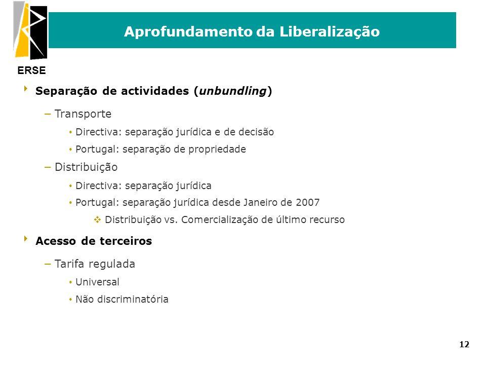 ERSE Aprofundamento da Liberalização 12 Separação de actividades (unbundling) – Transporte Directiva: separação jurídica e de decisão Portugal: separa