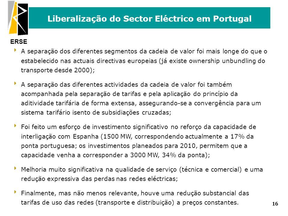 ERSE Liberalização do Sector Eléctrico em Portugal 16 A separação dos diferentes segmentos da cadeia de valor foi mais longe do que o estabelecido nas