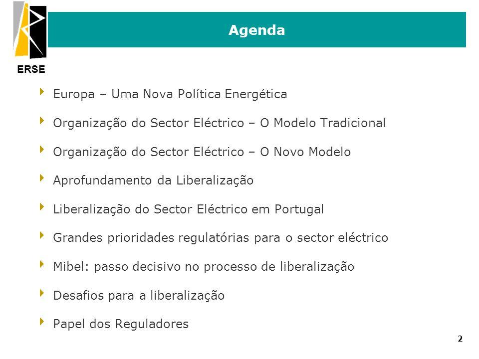 ERSE Agenda Europa – Uma Nova Política Energética Organização do Sector Eléctrico – O Modelo Tradicional Organização do Sector Eléctrico – O Novo Mode