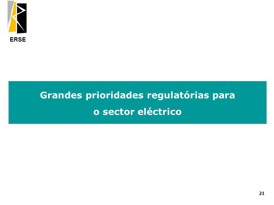 ERSE Grandes prioridades regulatórias para o sector eléctrico 21