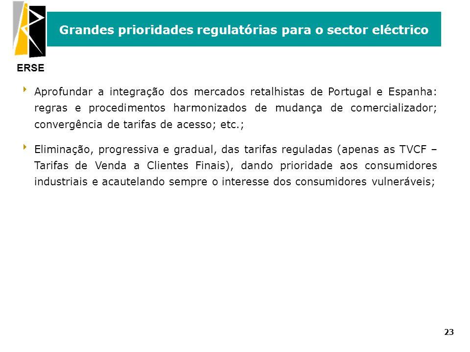 ERSE Grandes prioridades regulatórias para o sector eléctrico 23 Aprofundar a integração dos mercados retalhistas de Portugal e Espanha: regras e proc