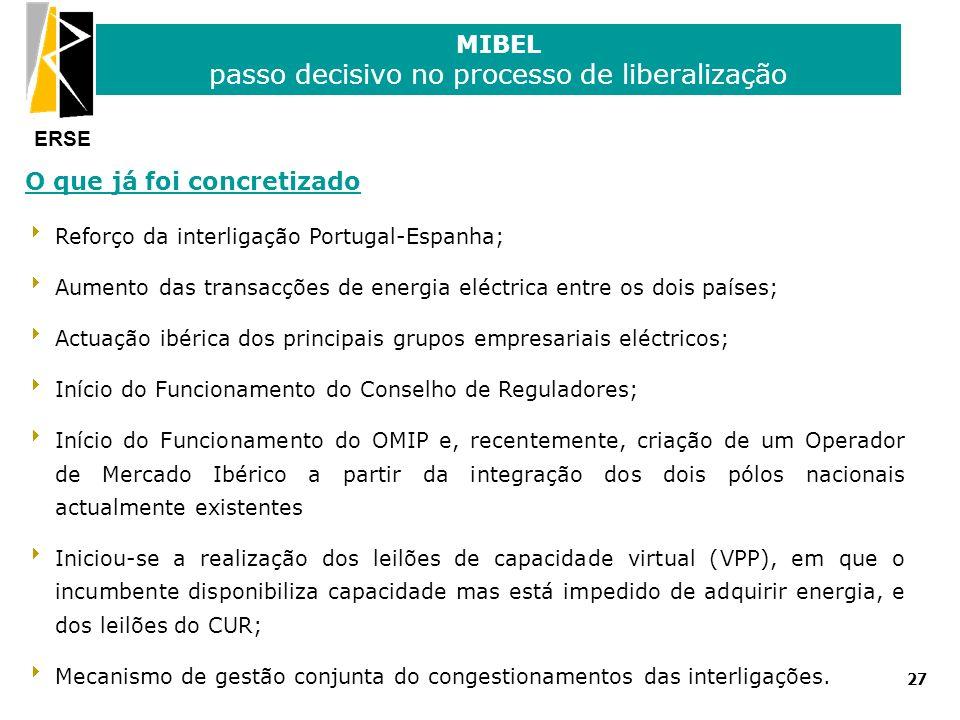 ERSE MIBEL passo decisivo no processo de liberalização 27 O que já foi concretizado Reforço da interligação Portugal-Espanha; Aumento das transacções
