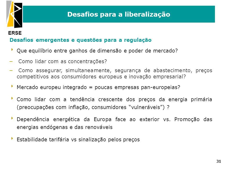 ERSE Desafios para a liberalização 31 Desafios emergentes e questões para a regulação Que equilíbrio entre ganhos de dimensão e poder de mercado? – Co