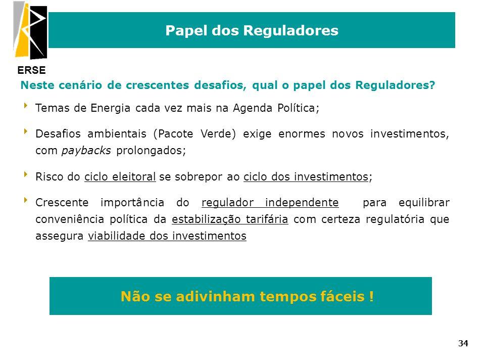 ERSE Papel dos Reguladores 34 Neste cenário de crescentes desafios, qual o papel dos Reguladores? Temas de Energia cada vez mais na Agenda Política; D