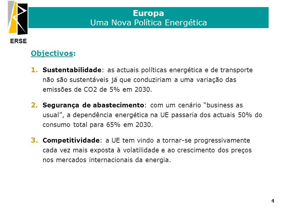ERSE Europa Uma Nova Política Energética Objectivos: 1. Sustentabilidade: as actuais políticas energética e de transporte não são sustentáveis já que
