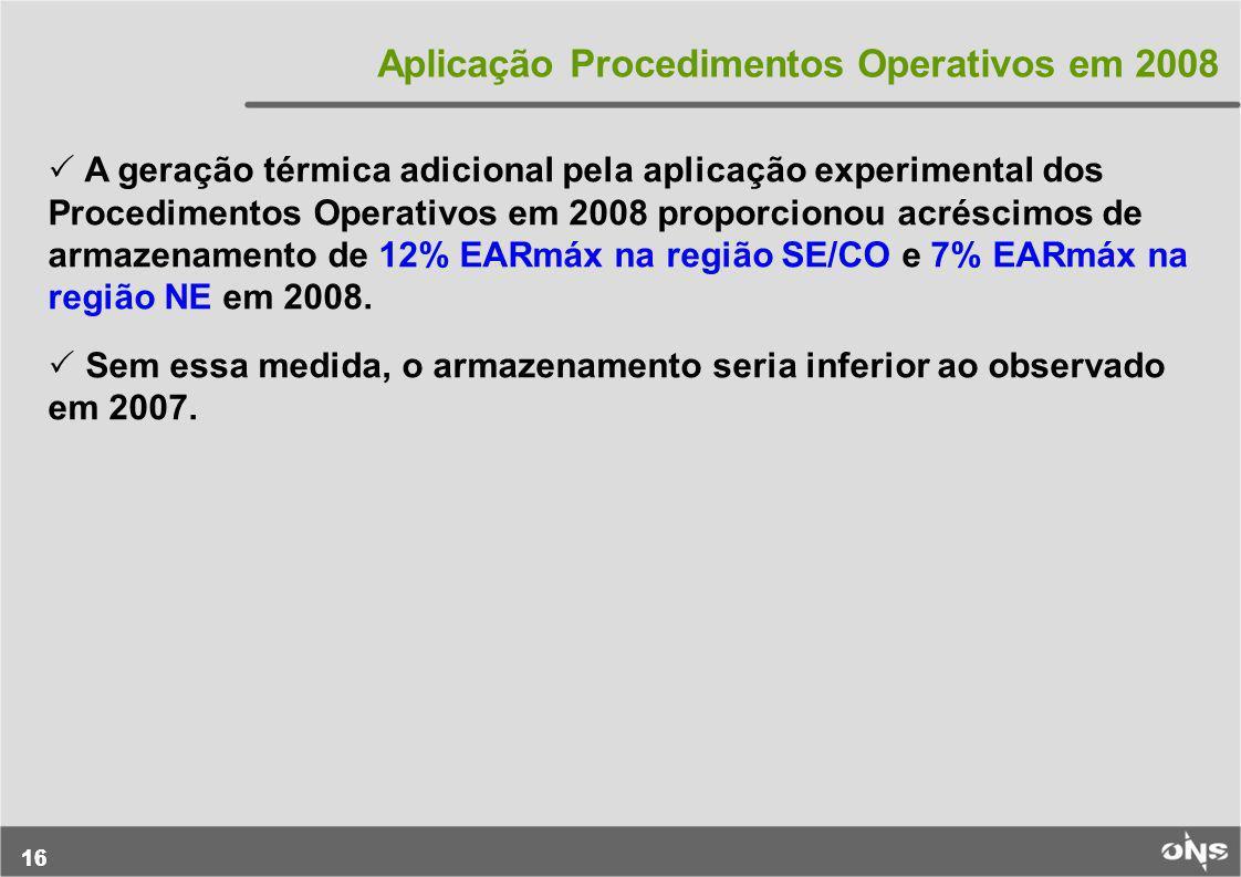 16 Aplicação Procedimentos Operativos em 2008 A geração térmica adicional pela aplicação experimental dos Procedimentos Operativos em 2008 proporciono