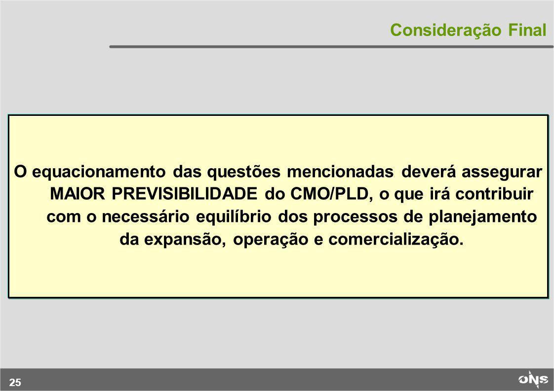 25 Consideração Final O equacionamento das questões mencionadas deverá assegurar MAIOR PREVISIBILIDADE do CMO/PLD, o que irá contribuir com o necessár