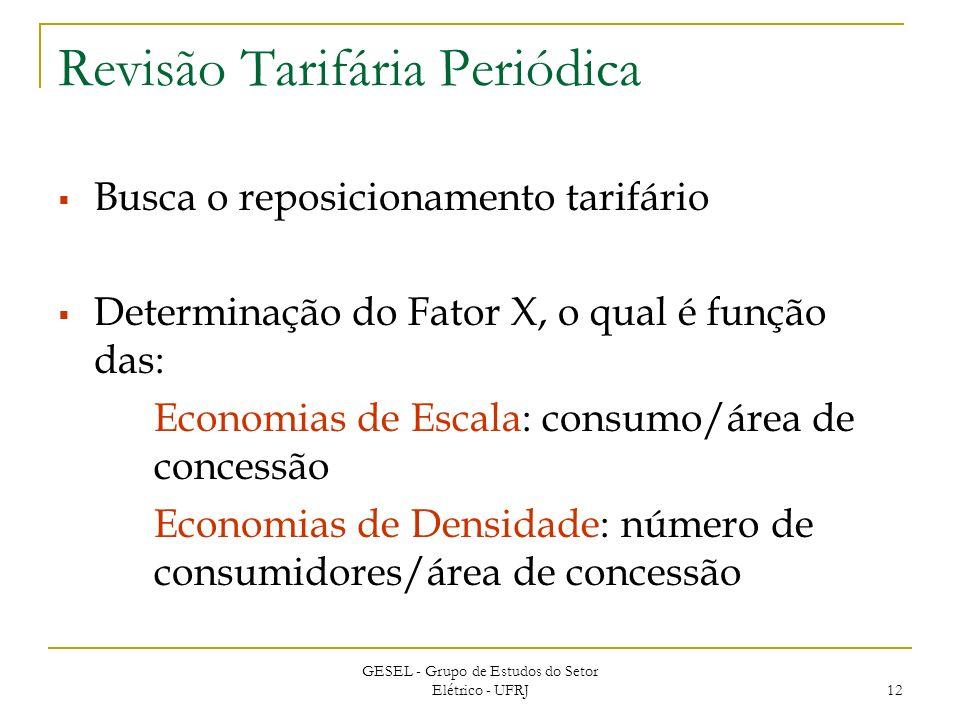 GESEL - Grupo de Estudos do Setor Elétrico - UFRJ 12 Revisão Tarifária Periódica Busca o reposicionamento tarifário Determinação do Fator X, o qual é função das: Economias de Escala: consumo/área de concessão Economias de Densidade: número de consumidores/área de concessão