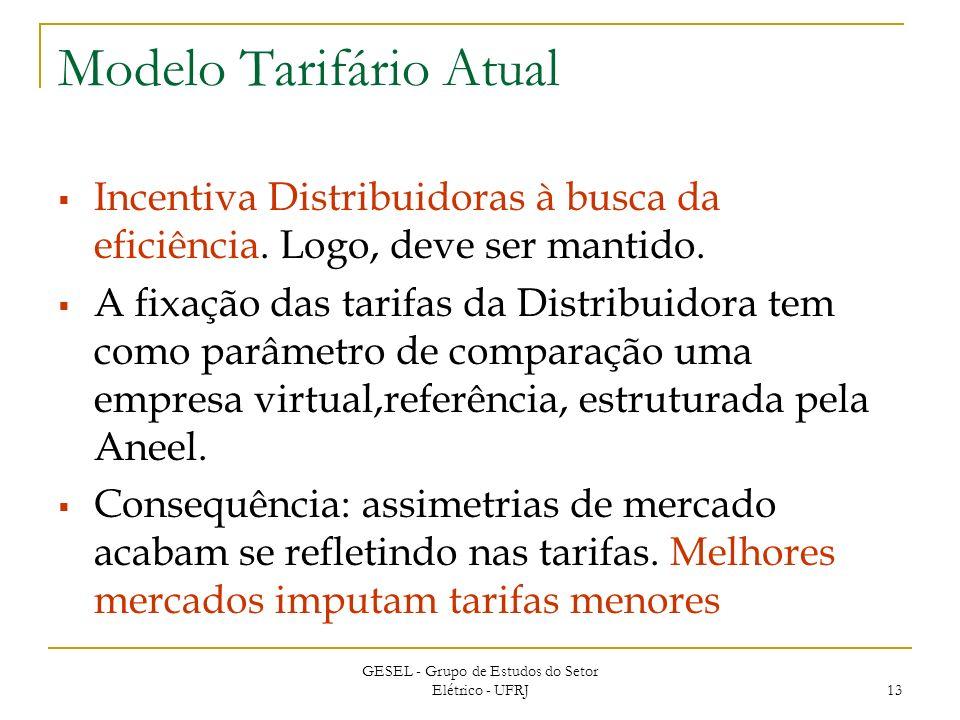 GESEL - Grupo de Estudos do Setor Elétrico - UFRJ 13 Modelo Tarifário Atual Incentiva Distribuidoras à busca da eficiência.