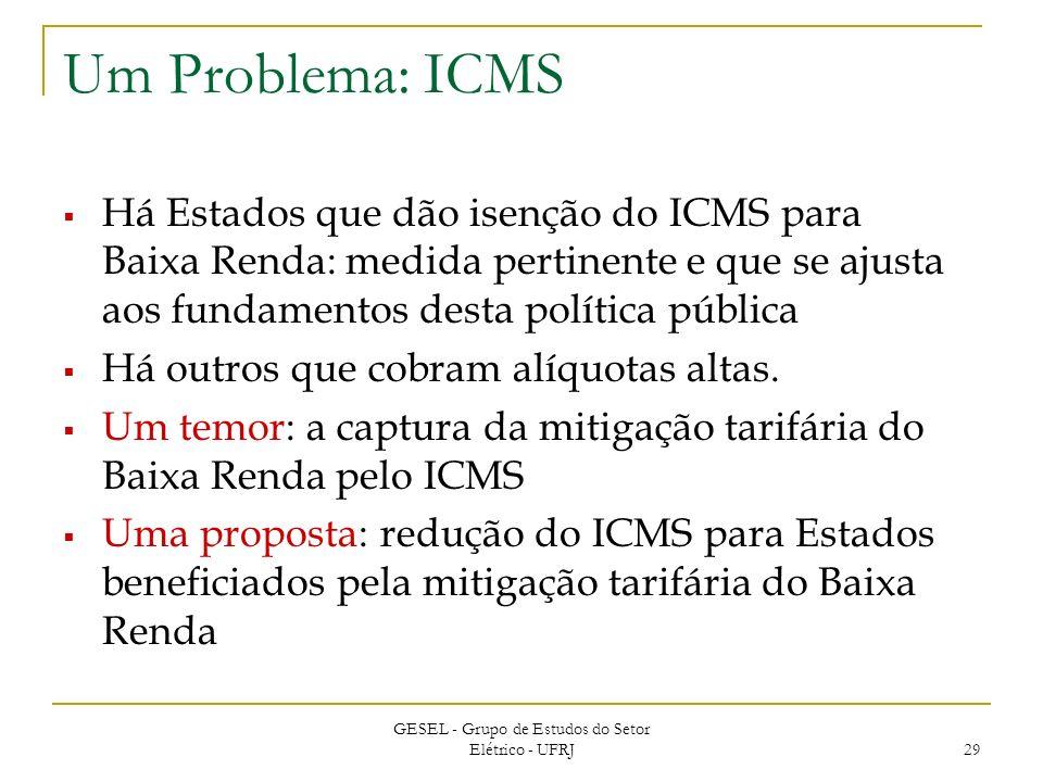 GESEL - Grupo de Estudos do Setor Elétrico - UFRJ 29 Um Problema: ICMS Há Estados que dão isenção do ICMS para Baixa Renda: medida pertinente e que se ajusta aos fundamentos desta política pública Há outros que cobram alíquotas altas.