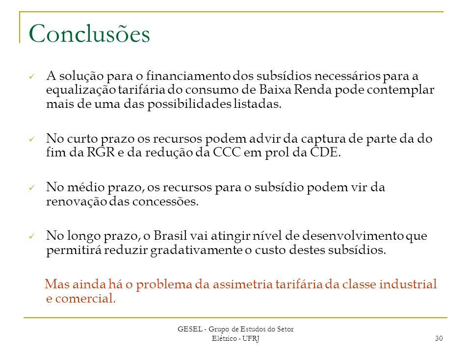 GESEL - Grupo de Estudos do Setor Elétrico - UFRJ 30 Conclusões A solução para o financiamento dos subsídios necessários para a equalização tarifária do consumo de Baixa Renda pode contemplar mais de uma das possibilidades listadas.