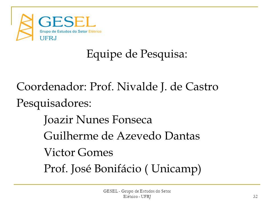 GESEL - Grupo de Estudos do Setor Elétrico - UFRJ 32 Equipe de Pesquisa: Coordenador: Prof.