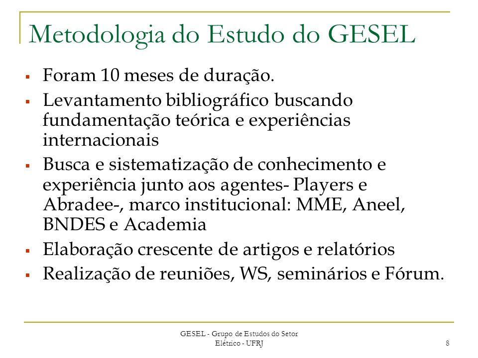 GESEL - Grupo de Estudos do Setor Elétrico - UFRJ 8 Metodologia do Estudo do GESEL Foram 10 meses de duração.