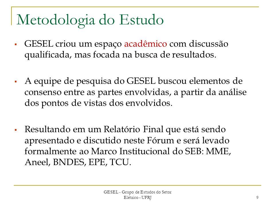 GESEL - Grupo de Estudos do Setor Elétrico - UFRJ 9 Metodologia do Estudo GESEL criou um espaço acadêmico com discussão qualificada, mas focada na busca de resultados.