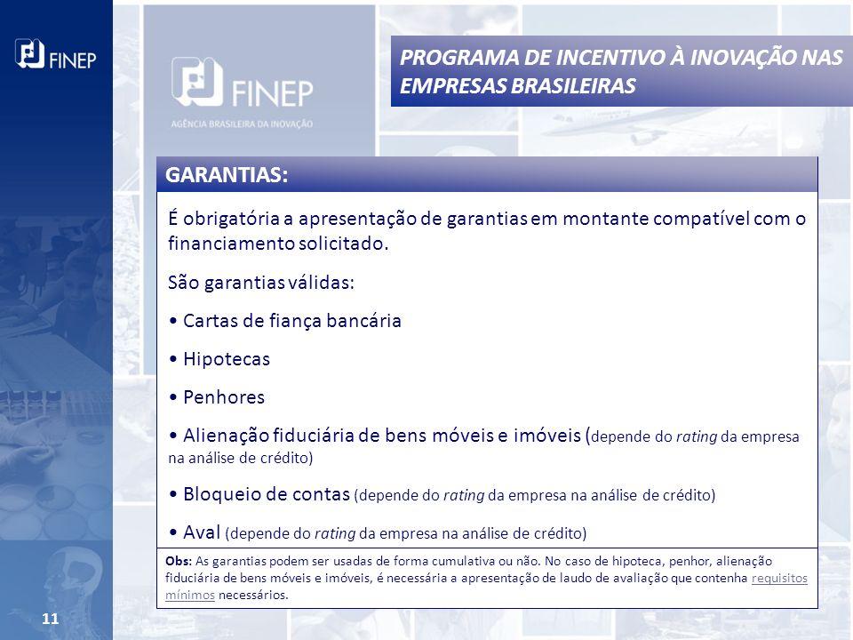11 É obrigatória a apresentação de garantias em montante compatível com o financiamento solicitado.