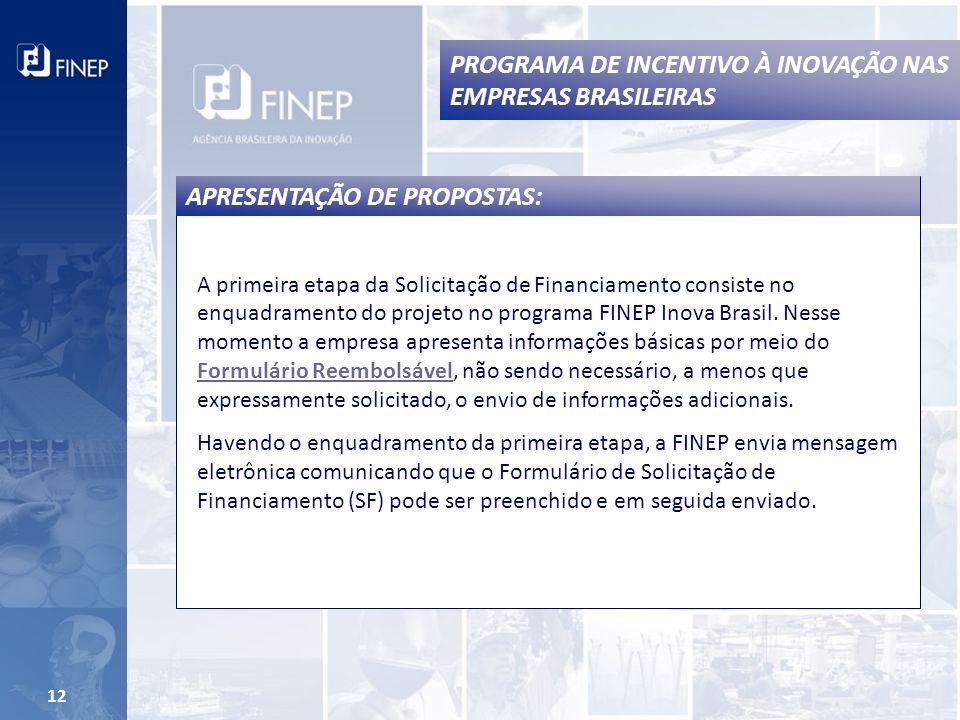 12 A primeira etapa da Solicitação de Financiamento consiste no enquadramento do projeto no programa FINEP Inova Brasil.
