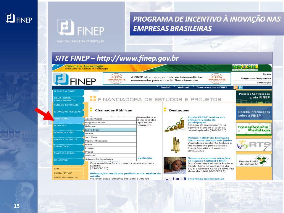 15 PROGRAMA DE INCENTIVO À INOVAÇÃO NAS EMPRESAS BRASILEIRAS SITE FINEP – http://www.finep.gov.br