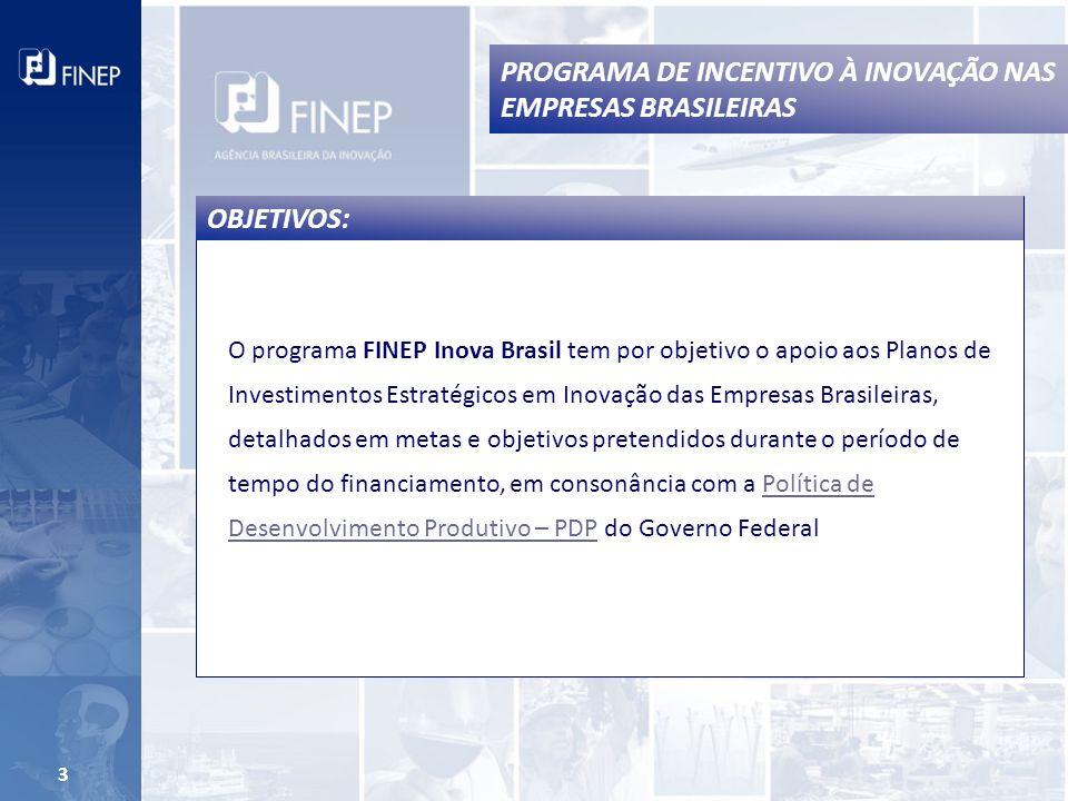 PROGRAMA DE INCENTIVO À INOVAÇÃO NAS EMPRESAS BRASILEIRAS 3 O programa FINEP Inova Brasil tem por objetivo o apoio aos Planos de Investimentos Estratégicos em Inovação das Empresas Brasileiras, detalhados em metas e objetivos pretendidos durante o período de tempo do financiamento, em consonância com a Política de Desenvolvimento Produtivo – PDP do Governo FederalPolítica de Desenvolvimento Produtivo – PDP OBJETIVOS: