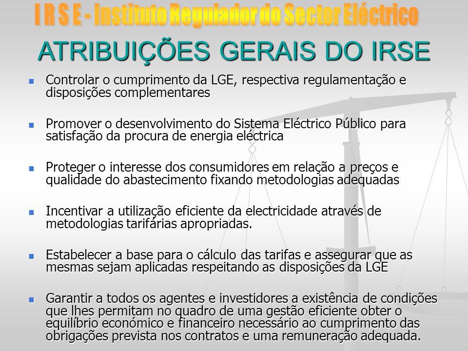 ATRIBUIÇÕES GERAIS DO IRSE Controlar o cumprimento da LGE, respectiva regulamentação e disposições complementares Controlar o cumprimento da LGE, resp
