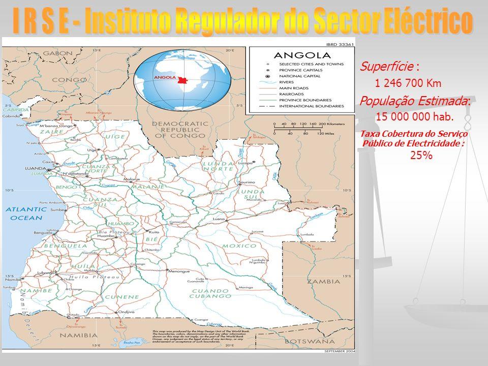 Superfície : 1 246 700 Km População Estimada: 15 000 000 hab. Taxa Cobertura do Serviço Público de Electricidade : 25%